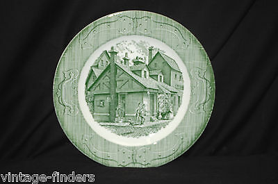 "Old Vintage The Old Curiosity Shop ~ Green by Royal China 10"" Dinner Plate ~ USA"