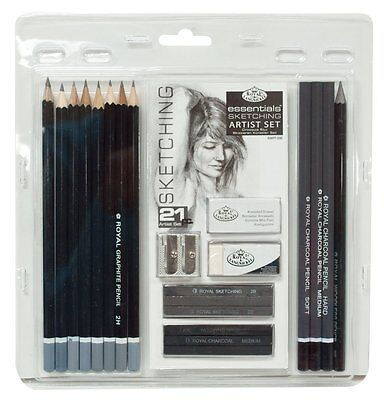 Royal & Langnickel Essentials Sketching Pencil Set,21-Piece 1 woodless graphite