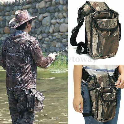 Camo Waterproof Fishing Tackle Bag Pack Thigh Waist Pocket Reel Lure Storage NEW