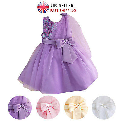 Flower Girls Dress Sequinned Princess Sleeveless Formal Party Wedding Bridesmaid