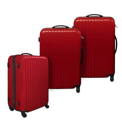3 pcs Hard Shell Case LUGGAGE Travel SET with Spinner Wheels Retract Handle Red