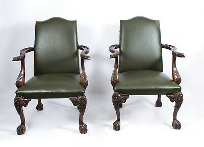 Vintage Pair Large Birds of Prey Leather Library Chairs