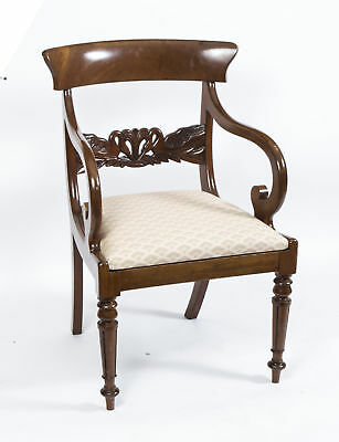 Antique English Regency Swan Carved Armchair c.1820