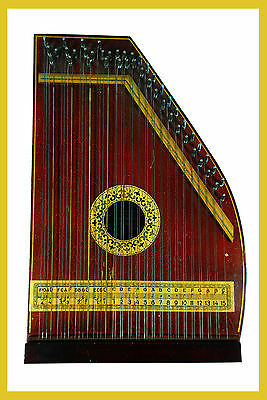 Vintage Zither Manufactured By Manufacturers Advertising Co. with Tuning Key