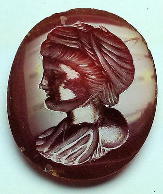 Roman Style Carved Carnelian Intaglio with a Bust of a Lady