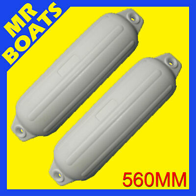 2 X 560mm BOAT FENDERS BUFFERS Heavy Duty White UV Stabilsed Ribbed FREE POSTAGE
