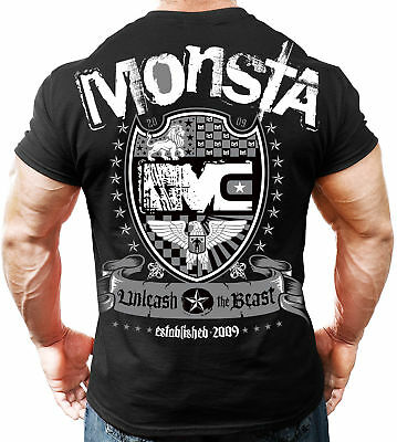 NEW Men's Monsta Clothing Soft: Unleash the Beast Bodybuilding Tee: Black / Gray
