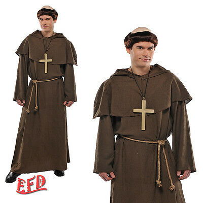 Adult Friar Tuck Monk Fancy Dress Costume With Wig + Cross