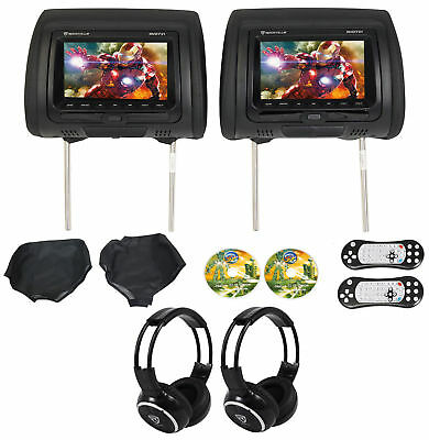 "Rockville RVD721-BK 7"" Dual DVD/USB/HDMI/SD Car Headrest Monitors+Games+Headsets"