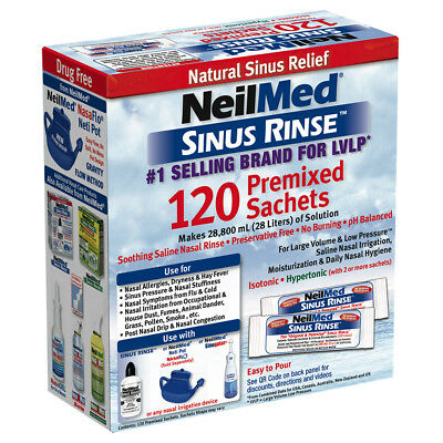 NeilMed Sinus Rinse Premixed Sachets Regular Nasal Relief Irrigation 120 Sachets