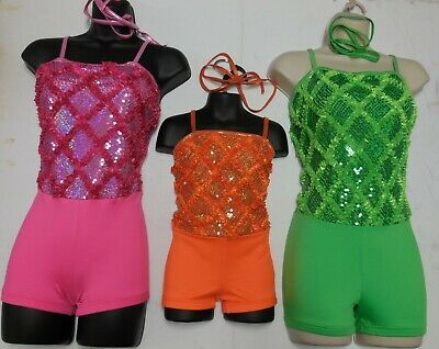 NWT DANCE Costume Hologram Sequin Front Shorty unitard 3 Colors Foil brights