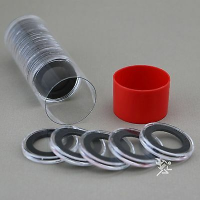 1 Capsule Tube & 20 22mm Black Ring Air-Tite Coin Holders for 1/4oz Gold Eagles