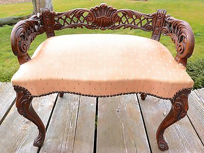 Louis Xv Bench Monarchy Parlour Chair Carved Wood Furniture Vanity Stool