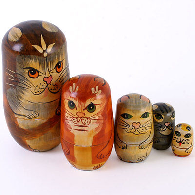 5 Piece Wooden Cat Russian Nesting Doll Set Ornament Gift