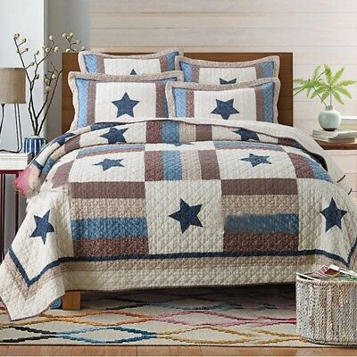 Star Quilted Patchwork Bedspread Set Queen/King Size Coverlet Blanket Rug Cotton