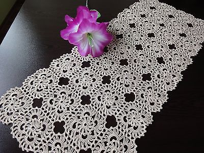 Lovely Vintage Handmade Floral Ecru Cotton Crochet Table Runner