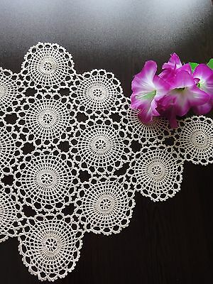 Gorgeous Vintage Handmade Cotton Crochet Ecru Rhomboid Tablecloth