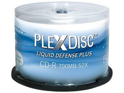 PlexDisc 700MB 52X CD-R Water Resistant Glossy White Inkjet Printable 50 Packs S