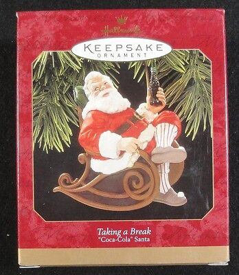 Hallmark Ornament - 1997 - Coca Cola - Taking a Break - Santa  - New in Box !!