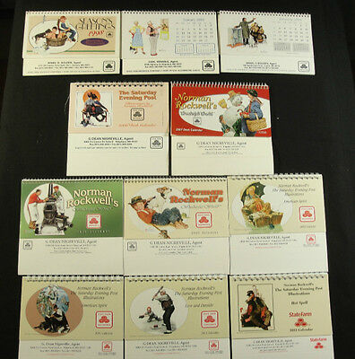 Norman Rockwell Mixed Lot Calendars - 11 Mini Desktop Calendars