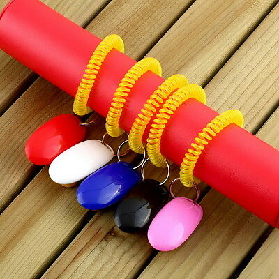 Dog Pet Click Clicker Training Obedience Agility Trainer Aid Wrist Strap CD