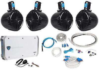 "4 Rockville RWB80B 8"" Wakeboard Marine Speakers+4 Channel Amplifier+Amp Kit"
