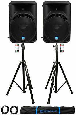 """(2) Rockville RPG15BT 15"""" 2000w Powered BlueTooth/USB DJ Speakers+Stands+Cables"""