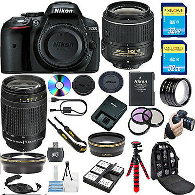 Nikon D5300 DSLR Camera w/ 18-55mm VR Lens and 70-300mm G Zoom Lens! MEGA Bundle