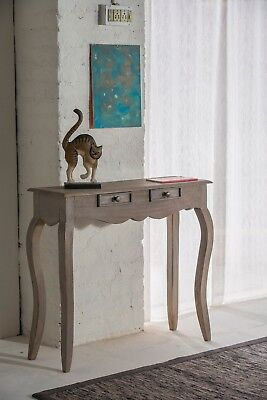 Bourdeilles 2 Drawer Console Table Solid Shabby Chic in Mango Free Del!