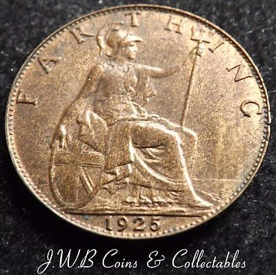 1925 George V Farthing Coin - Great Britain.