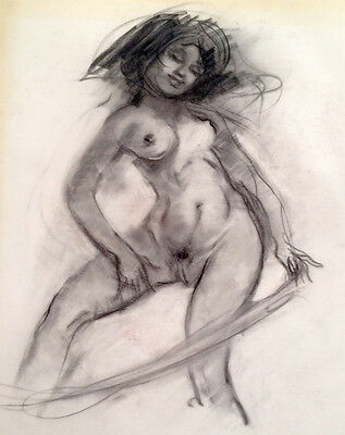 Julian Ritter -Nude Lady  - Charcoal on Vellum - Un-Signed - 169