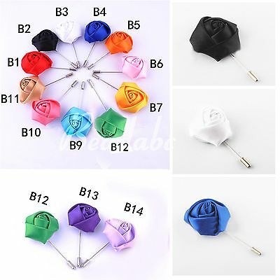 Men's Lapel Rose Pin Lapel Flower Pin Fabric Boutonniere Stick Brooch Handmade