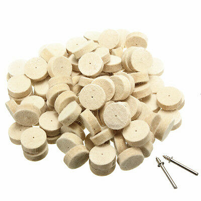 100Pcs 13mm/25mm Wool Felt Polishing Buffing Round Wheel with 2 Shank For Tool