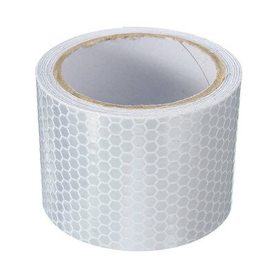 Silver White Car Reflective Safety Warning Conspicuity Roll Tape Film Sticker