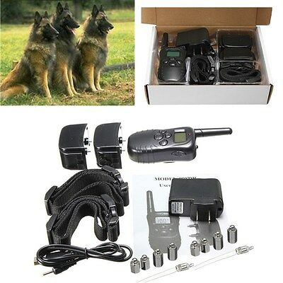 Rechargeable Waterproof Electric Shock Remote 2 Dog Training Collar Anti-Bark