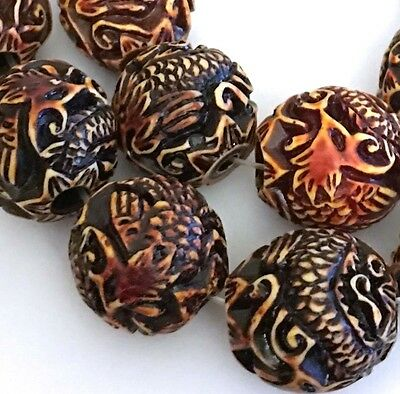 19-21mm Carved Dragon Peacock Boxwood Resin Round Beads (8)