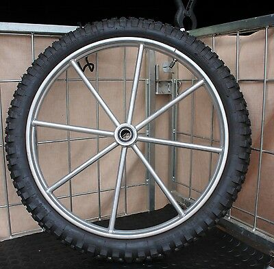 Super heavy duty cart or buggy wheel with motorcycle tire