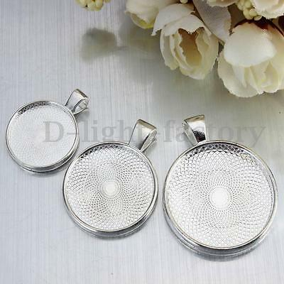 5/10/20Pcs Silver Round Pendant Tray For DIY Cameo Cabochon Setting 20/25/30mm