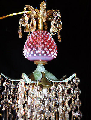 1of2 Srawberry Crystal brass SWAG Lamp Chandelier Vintage Fenton Cranberry Glass