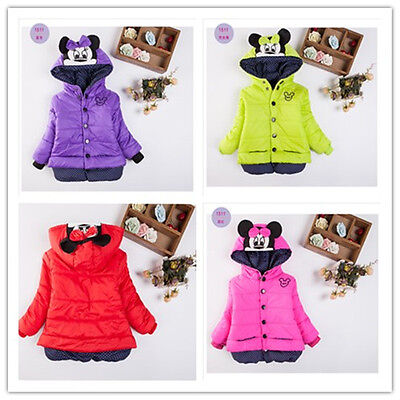 Toddler Baby Girls Hooded Jacket Winter Warm Coat Minnie Mouse Outwear Kids Tops