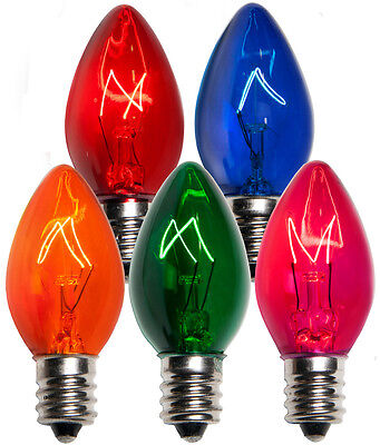 25 C7 Multi Color Transparent Replacement Bulbs Christmas Party Holiday Wedding