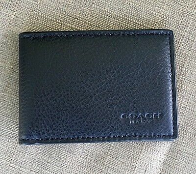 New Coach Men's  Sports Calf Leather Slim Card Case/holder Id Window Slot