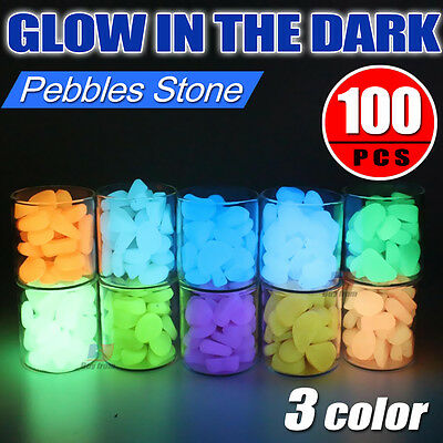 100pc Glow in the Dark Fluorescent Pebbles Stones Garden Walkway Parterre Decor