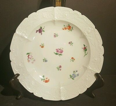 Antique 19th C Meissen Dinner Plate Scalloped Rim Flowers Floral Relief 1st Qlty