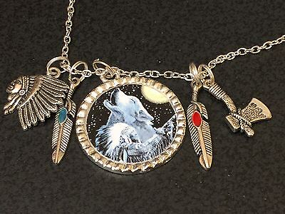 """Wolf Howling & Indian Chief Mix Charm Tibetan Silver with 18"""" Necklace BIN"""