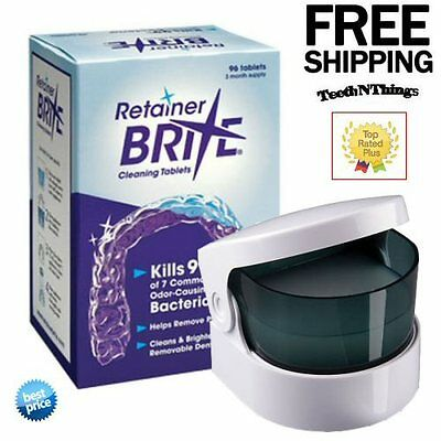 Retainer Brite 3 Months Supply | 96 Tablets Plus Cordless Sonic Cleaner