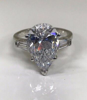 Pear Shape Solitaire Engagement Ring 4.00ctw. Solid 14k White Gold #4573