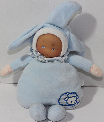 Cute COROLLE BABY IN BLUE OUTFIT Rattle Lovey STUFFED PLUSH DOLL Soft Toy