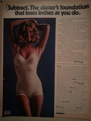 1974 Dupont Lycra Womens Subtract Womens One Piece Girdle Bra Ad