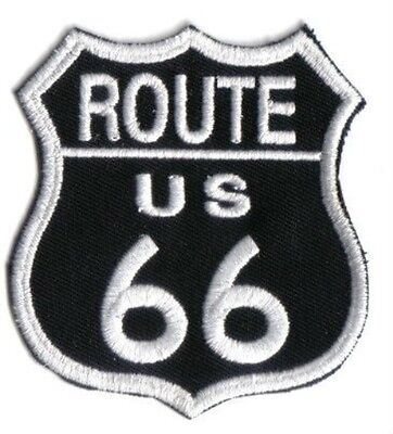 ROUTE 66 IRON ON EMBROIDERED PATCH 8cm x 7.5cm BIKER HIGHWAY USA BUY 2 GET 1 FRE